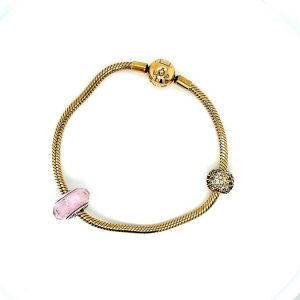 18K Gold Plated Pandora Moments 7.9″ (9) Snake Chain Bracelet w/ 2 Charms (36381-1)