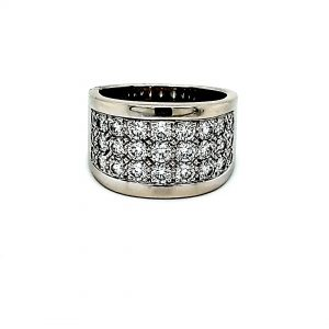 Birks Cavelti Platinum & 18K White Gold 3 Row Pave Set Diamond Ring
