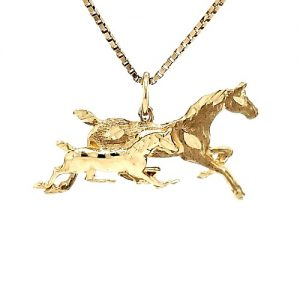 10K Yellow Gold 34.75mm Fillie & Foal Horse Pendant