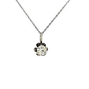 14K White Gold .56CT Diamond Solitaire Pendant