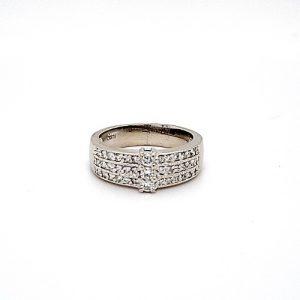 14K White Gold 3 Diamond Diagonal 3 Row Pave Set Diamond Engagement Ring