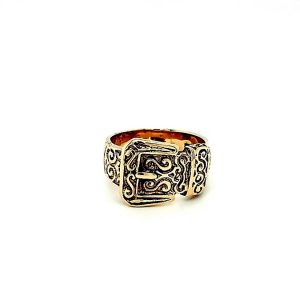 9K Yellow Gold Ornate Belt Buckle Band Style Ring