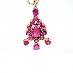14K Yellow Gold Multi Cut Natural Ruby Hand Constructed Pendant
