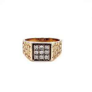 14K Yellow Gold 9 Diamond Square Signet Brick Shoulder Ring