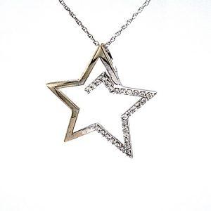 10K White Gold 28mm 29 Diamond Stylized Open Star Pendant
