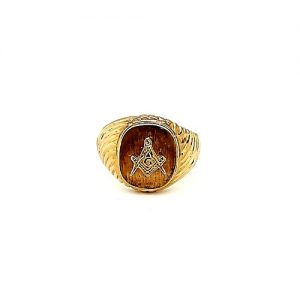 10K Yellow Gold Square & Compass Masonic Signet Ring