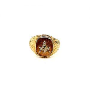 10K Yellow Gold Square & Compass Masonic Signet Ring