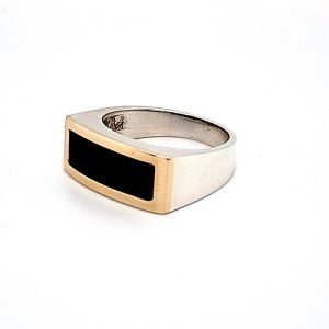 Sterling Silver Ring w/ 10K Yellow Gold Top & Onyx