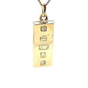 9K Yellow Gold Bar Hallmarked Pendant