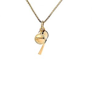 18K Yellow Gold 22mm Working Whistle Pendant