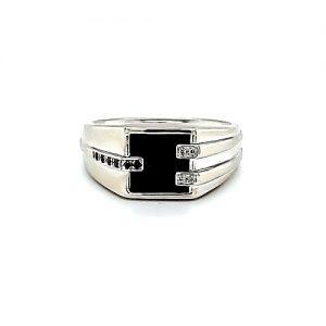 10K White Gold Square Onyx w/ Black & White Diamonds Signet Style Ring