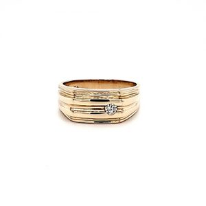 10K Yellow Gold .10CT Diamond Solitaire Signet Style Ring