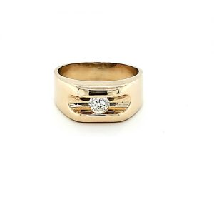 14K Yellow Gold Channel Set .48CT Diamond Solitaire Ring