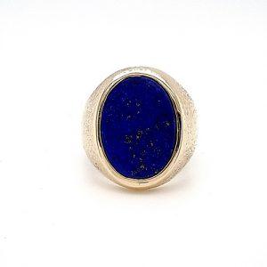 14K Yellow Gold 18x13mm Bezel Set Oval Lapis Signet Style Ring