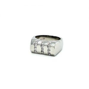 14K White Gold 12 Diamond Signet Style Ring