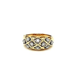 Birks 18K Yellow Gold 10 Diamond Lattice Pattern Ring