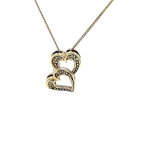10K Yellow Gold 8 Diamond Double Heart Pendant On 18″ Necklace
