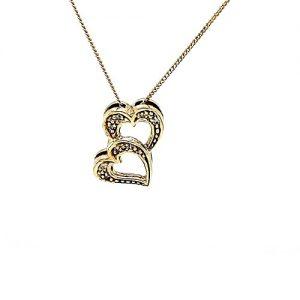 10K Yellow Gold 8 Diamond Double Heart Pendant On 18″ Necklace