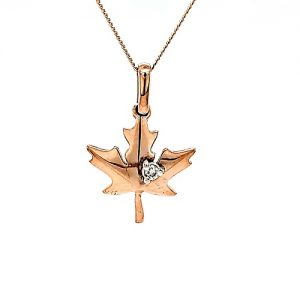10K Rose Gold 20″ Necklace w/ 15mm Maple Leaf Pendant