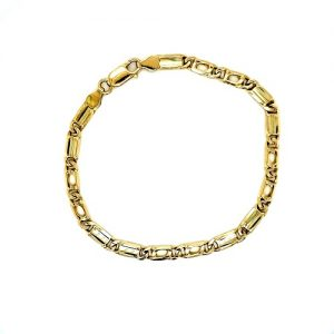 18K Yellow Gold 8.5″ Solid Elongated & Open Curb Link Bracelet