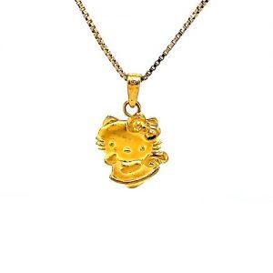 24K Yellow Gold Hello Kitty Pendant/Charm
