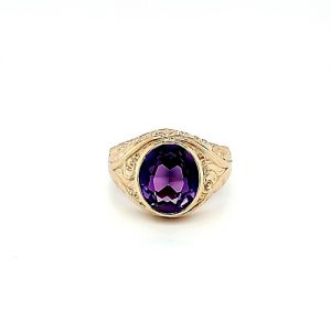 10K Yellow Gold Ornate Design Large Oval Syn. Color Change Sapphire Signet Style Ring