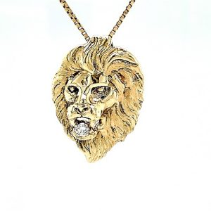 Vintage 14K Yellow Gold Hand Made Lion Head Pendant w/ .10CT Diamond in Mouth