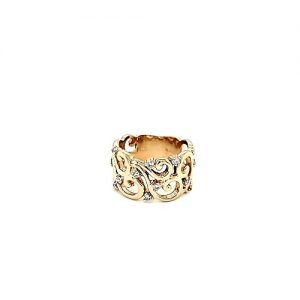 EFFY 14K Yellow Gold D'Oro 14 Diamond Filigree Style Ring