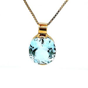 18K Yellow Gold 18.4CT Oval Faceted Blue Topaz Pendant