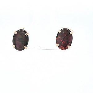 Pair of  14K Yellow Gold Oval Ammolite Stud Earrings