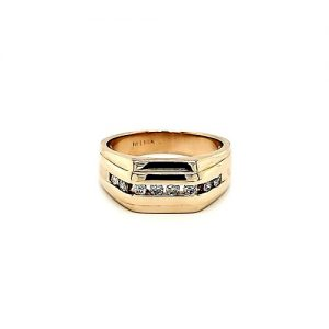 14K Yellow Gold 8 Diamond Signet Style Ring