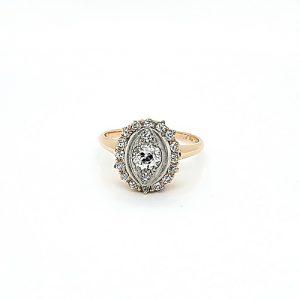 14K Yellow Gold .51CT Old European Cut Diamond Centre w/ Diamond Halo Ring