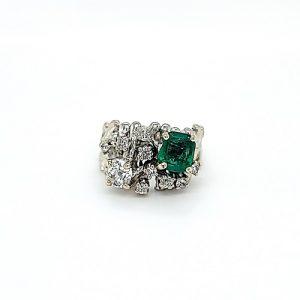 14K White Gold 1.10CT Emerald Cut Emerald & 9 Diamond Stylized Ring