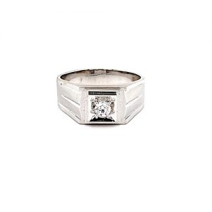 14K White Gold .22CT Diamond Solitaire Signet Style Satin Finish Ring