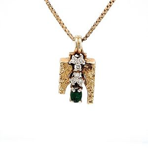 14K Yellow Gold Oval Emerald & Diamond Nugget Textured Stylized Pendant