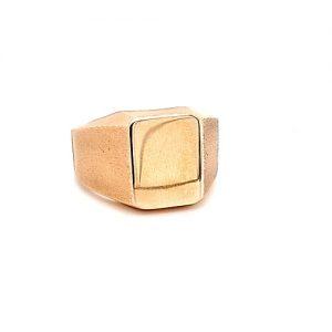 Heavy 14K Yellow Gold Satin Finish Shoulder Rectangular Blank Signet Ring
