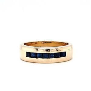 10K Yellow Gold 7 Square Cut Blue Sapphire Band Style Ring