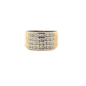 10K Yellow Gold 4 Row Channel Set Diamond Ring
