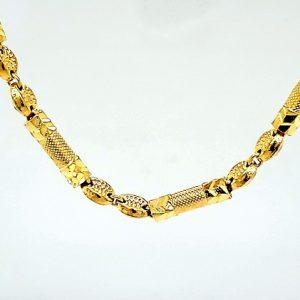 23K Yellow Gold 26″ Diamond Cut Stylized Link Chain