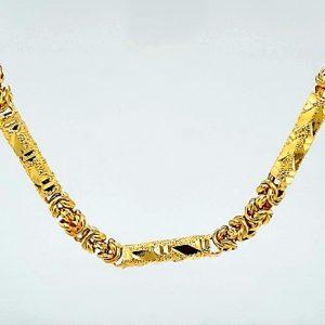 23K Yellow Gold 18″ Diamond Cut Stylized Link Chain