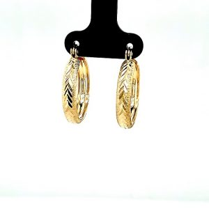 Pair of 10K Yellow Gold 21mm Diamond Cut Frosted Finish Hoop Earrings