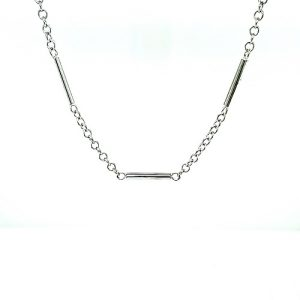 14K White Gold 18.5″ Bar & Loop Link Chain