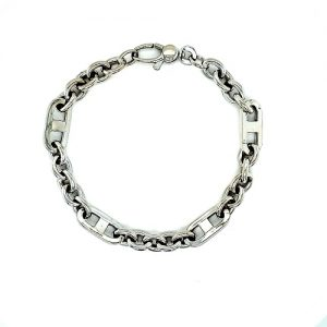 14K White Gold 8.25″ Stylized Loop Link Bracelet