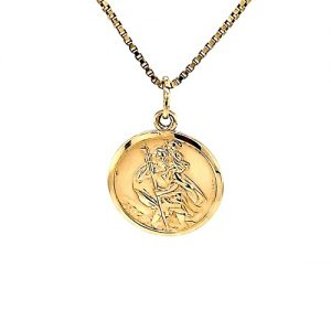 10K Yellow Gold 20mm St. Christopher Disc Pendant