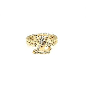 18K Yellow Gold Louis Vuitton Style Ring w/ CZ's