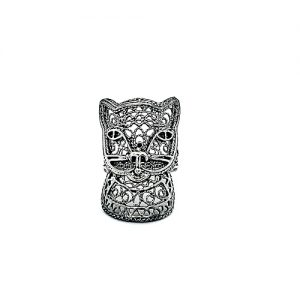 DGS Sterling Silver Filigree Cat Ring
