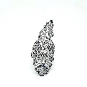 DGS Sterling Silver Multi Colored Peacock Filigree Style Ring