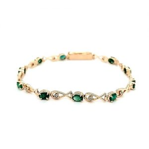.500 Gold 11 Emerald/ 11 Diamond 7.5″ Tennis Bracelet