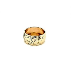 First Nations 14K Yellow Gold Fine Carved 2 Raven & Sun Band