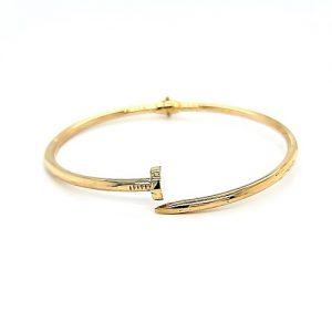 "18K Yellow Gold ""Cartier Love"" Style Nail Shaped Hinged Bangle"